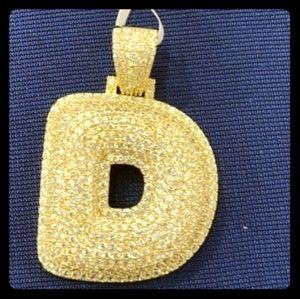 Icy Gold Finish Inital 'D' Bubble Charm
